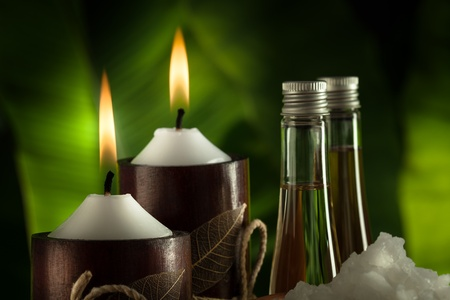 close up view of spa theme objects on green back
