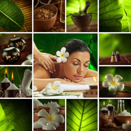 natural medicine: Spa theme  photo collage composed of different images