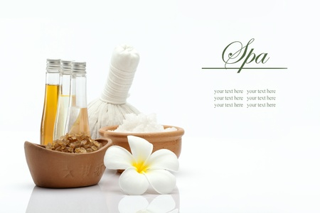 bathsalt: view of spa theme object on white background Stock Photo