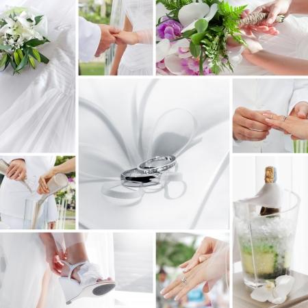 Hochzeit Thema Collage aus verschiedenen Bildern zusammengesetzt Standard-Bild