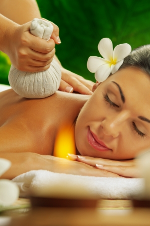 aromas: portrait of young beautiful woman in spa environment