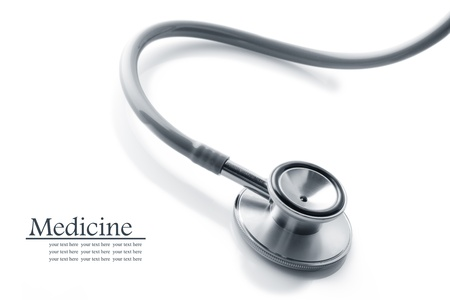 stethoscope: Close up view of grey stethoscope on white back