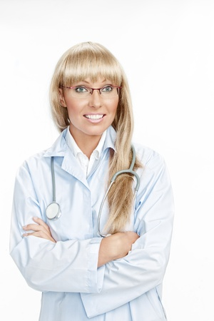 Portrait of nice doctor  on white back Stock Photo - 18547594