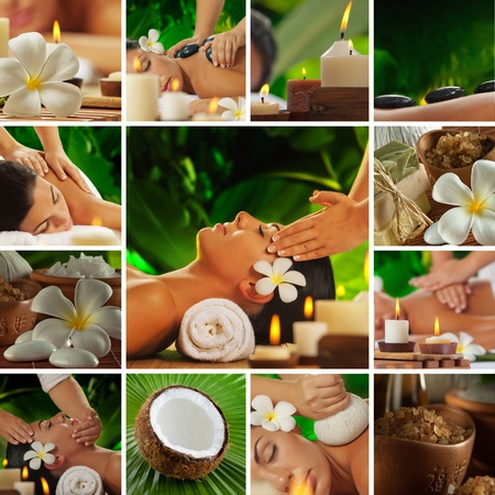 health collage: Spa theme  collage composed of different images Stock Photo