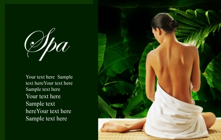 portrait of young beautiful woman  in spa environment   banner