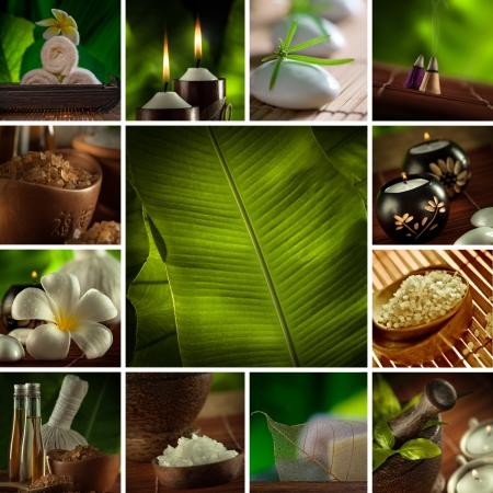 Spa Thema Foto Collage aus verschiedenen Bildern zusammengesetzt Standard-Bild