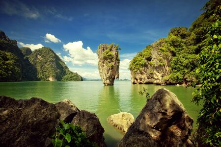james bond: View of nice tropical  island  in summer environment