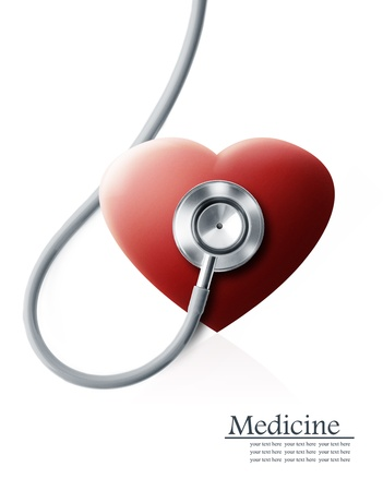 heart surgery: Close up view of grey stethoscope with heart on white back Stock Photo