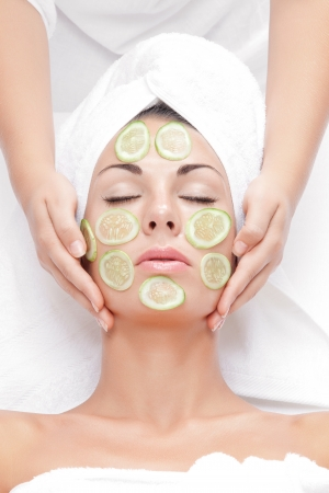 treated: portrait of young beautiful woman  being treated   Stock Photo