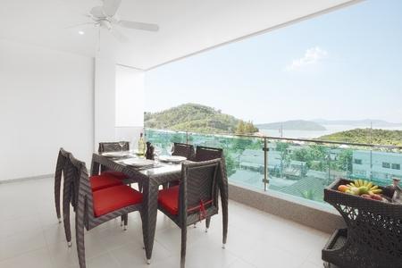 wooden railings: Balcony and nice panoramic sea view
