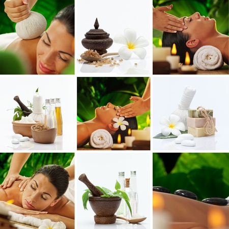 aromatherapy: Spa theme  photo collage composed of different images