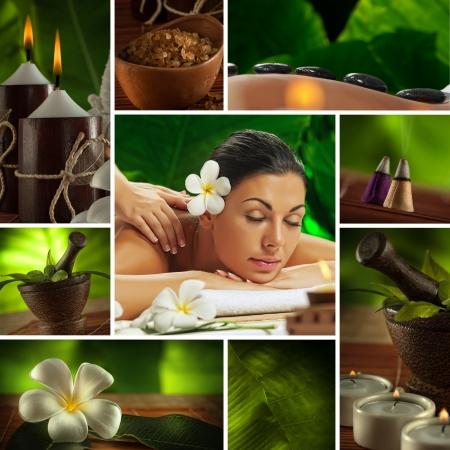 Massage: Spa тема коллажа состоит из различных изображений Фото со стока