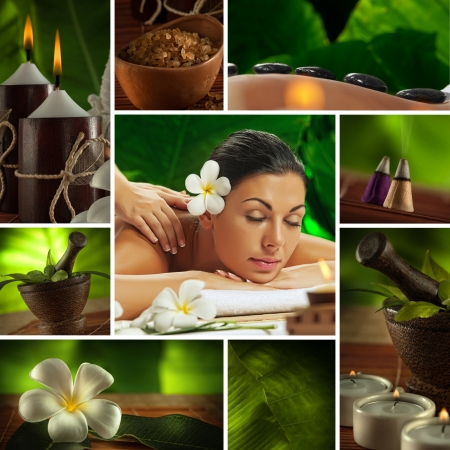 massage: Spa photo collage th?me compos? de diff?rentes images