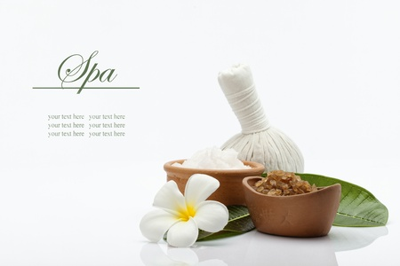 bathsalt: spa theme object on white background  banner  lots of copy space
