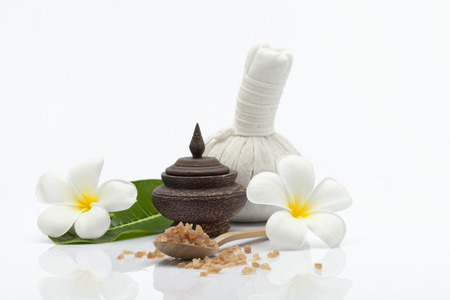 close up view of spa theme objects on white  back Stock Photo
