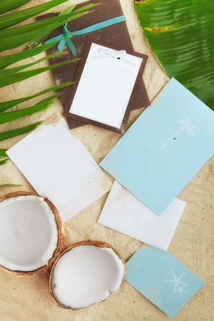 recollections: empty cards on sand  free space for your text and images