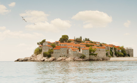 Panoramic view of nice European old town sveti stefan photo