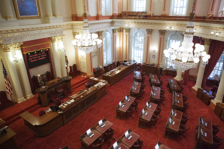 parliamentary: Panoramic view of Sacramento, California city hall interior