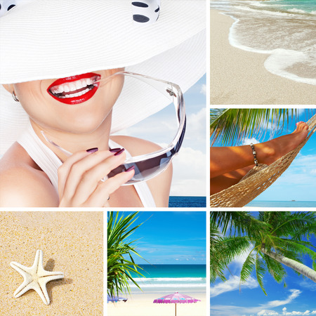 plage: summer beach theme collage composed of a few images Stock Photo