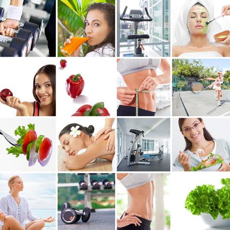 Gesunde Lebensweise Thema Collage bestehend aus verschiedenen Bildern Standard-Bild