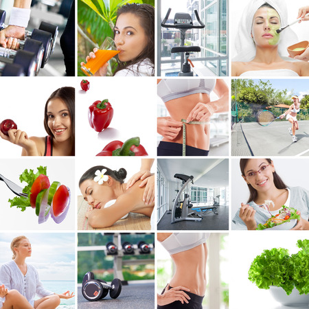 Healthy lifestyle  theme collage composed of different images Stock Photo
