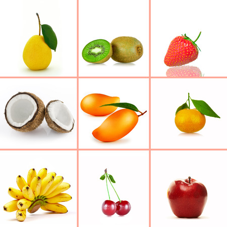 allergic ingredients: fresh fruit   theme collage composed of different images Stock Photo