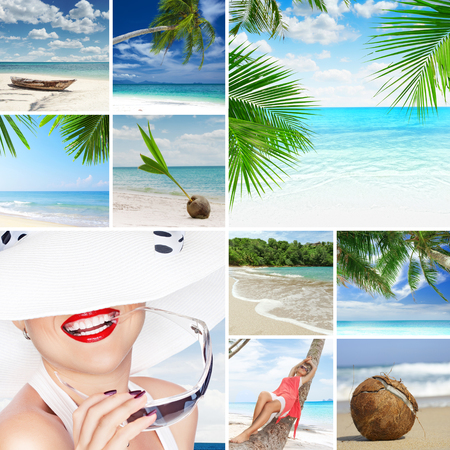 coco palm: summer beach theme collage composed of a few images Stock Photo