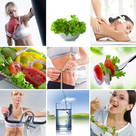 food collage: Healthy lifestyle  theme collage composed of different images Stock Photo