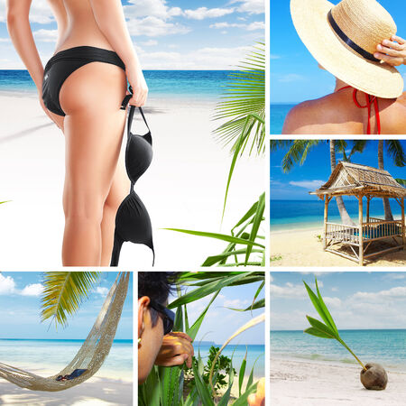 string bikini: summer beach theme collage composed of a few images Stock Photo