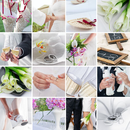 wedding theme collage composed of different images 写真素材