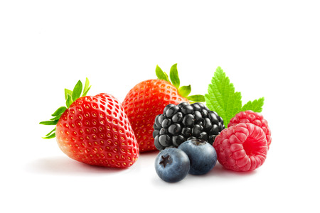 close up view of nice fresh berries on white  background Banco de Imagens - 27410470