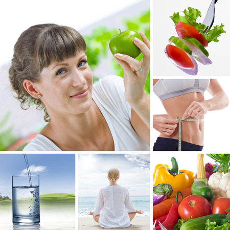 comidas saludables: Collage de tema de estilo de vida saludable se compone de diferentes imágenes  Foto de archivo