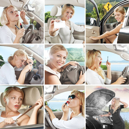photos of nice young woman behind the wheel combined in collage photo