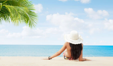 plage: Portrait of beautiful girl having good time on the beach Stock Photo