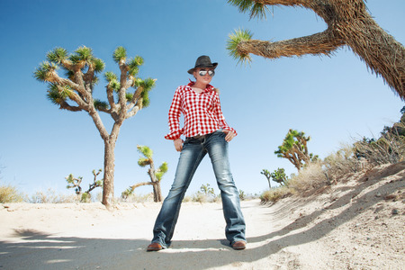 portrait of young beautiful girl in Joshua Tree park environment Stock Photo - 29107923