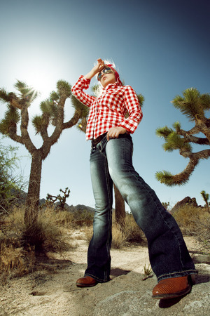 portrait of young beautiful girl in Joshua Tree park environment Stock Photo - 29107986