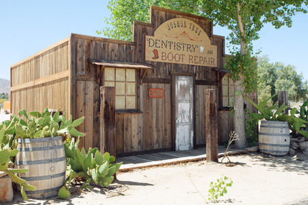 western town: view of nice stylish  authentic  house front in wild west environment Editorial