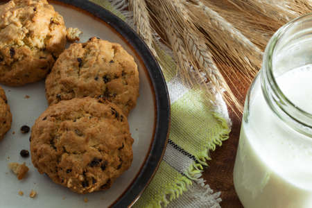 close up view of nice homemade cookies with milk photo