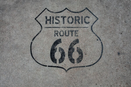 rout: close up view of  historic rout 66 mark on asphalt  surface