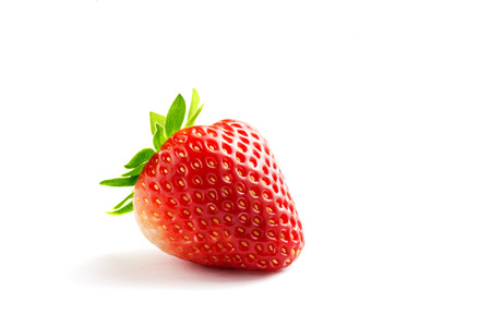 allergic ingredients: close up view of nice fresh strawberry on white back Stock Photo