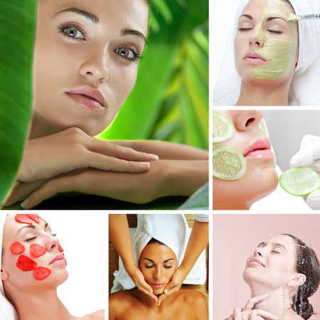 skin treatment theme collage composed of different images photo