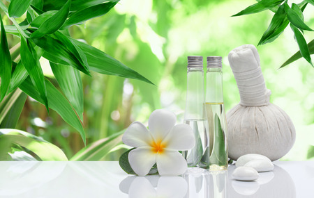 aromatherapy oil: view of spa theme object on color