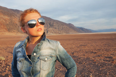 portrait of young beautiful girl in death valley  environment Stock fotó