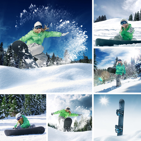 halfpipe: snowboarder theme collage composed of a few different images Stock Photo