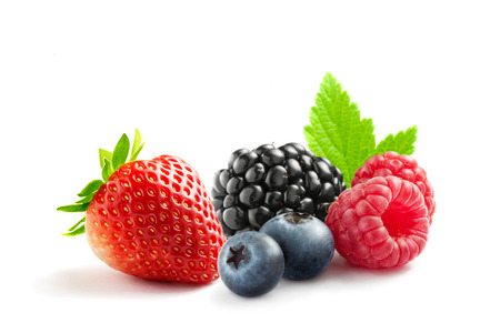 close up view of nice fresh berries on white  background