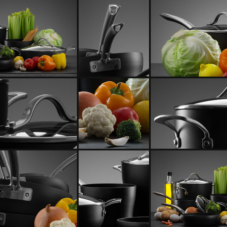cookware: close up view of nice cookware set with some vegetables on grey color back Stock Photo
