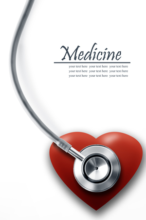 heartattack: Close up view of grey stethoscope with heart on white back Stock Photo