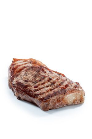 white yummy: close  up view of nice yummy fresh steak on white back