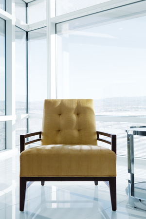 office environment: close up view of modern chair in office environment