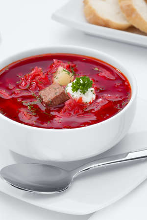 white yummy: close up view of nice yummy red russian soup on white back Stock Photo